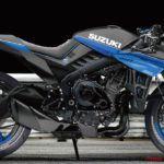 GSX-R1000Rベースのカフェレーサーを黒×青で。