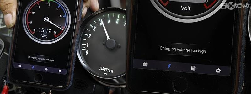 バッテリー電圧が15V以上になるとアラート表示
