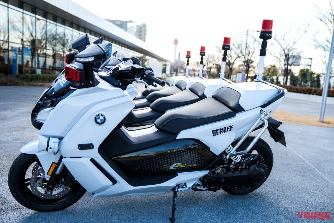 BMWのCエボリューションが白バイになった