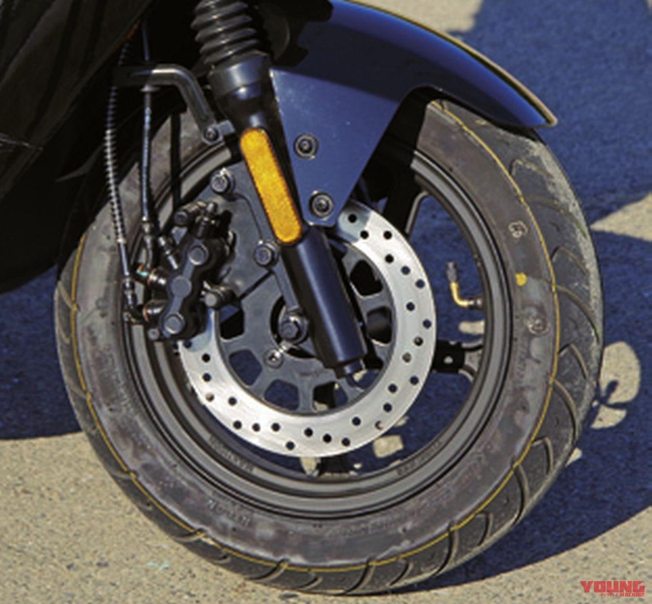 電動バイクXEAM「niu N-GT」フロント周りホイールブレーキ