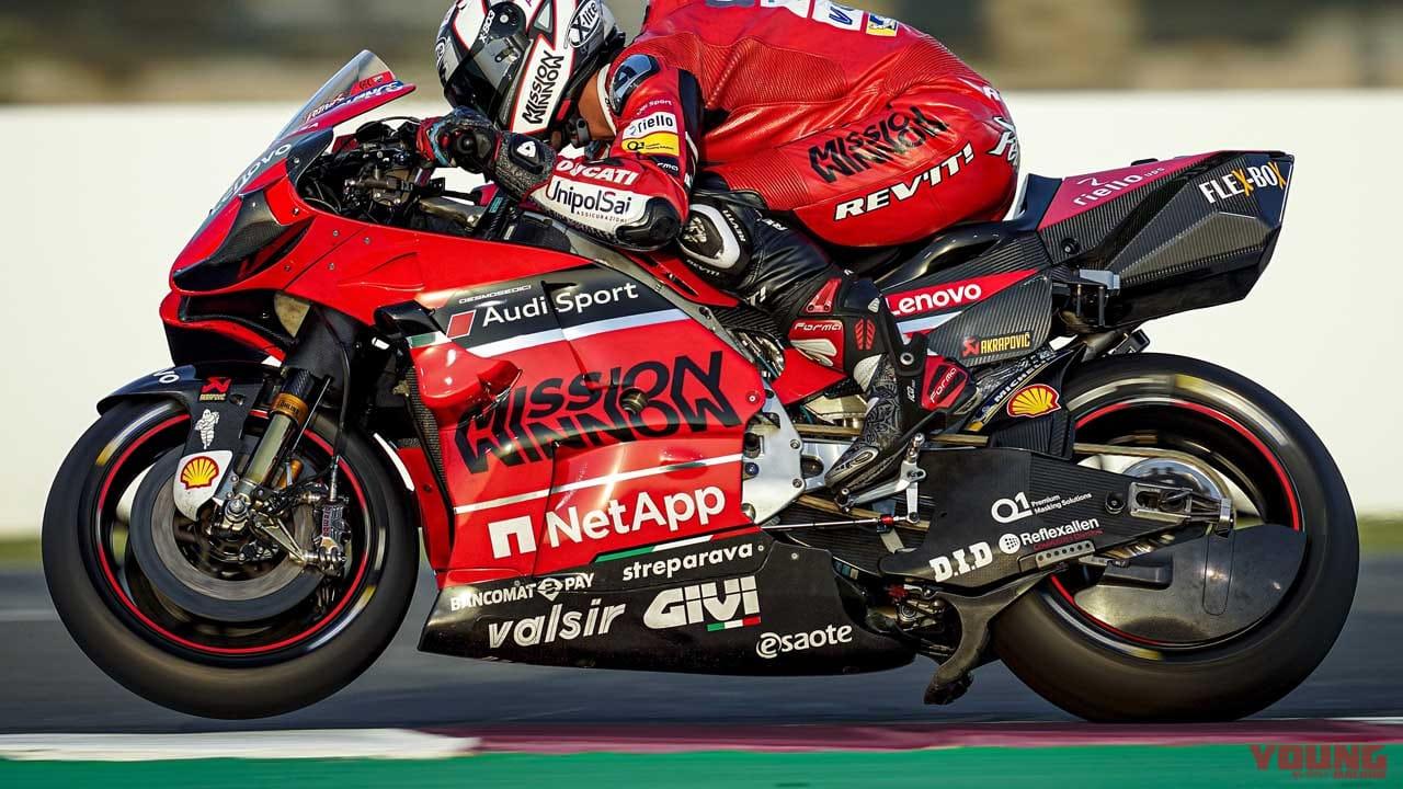 ドゥカティのデスモセディチGP20とダニロ・ペトルッチ