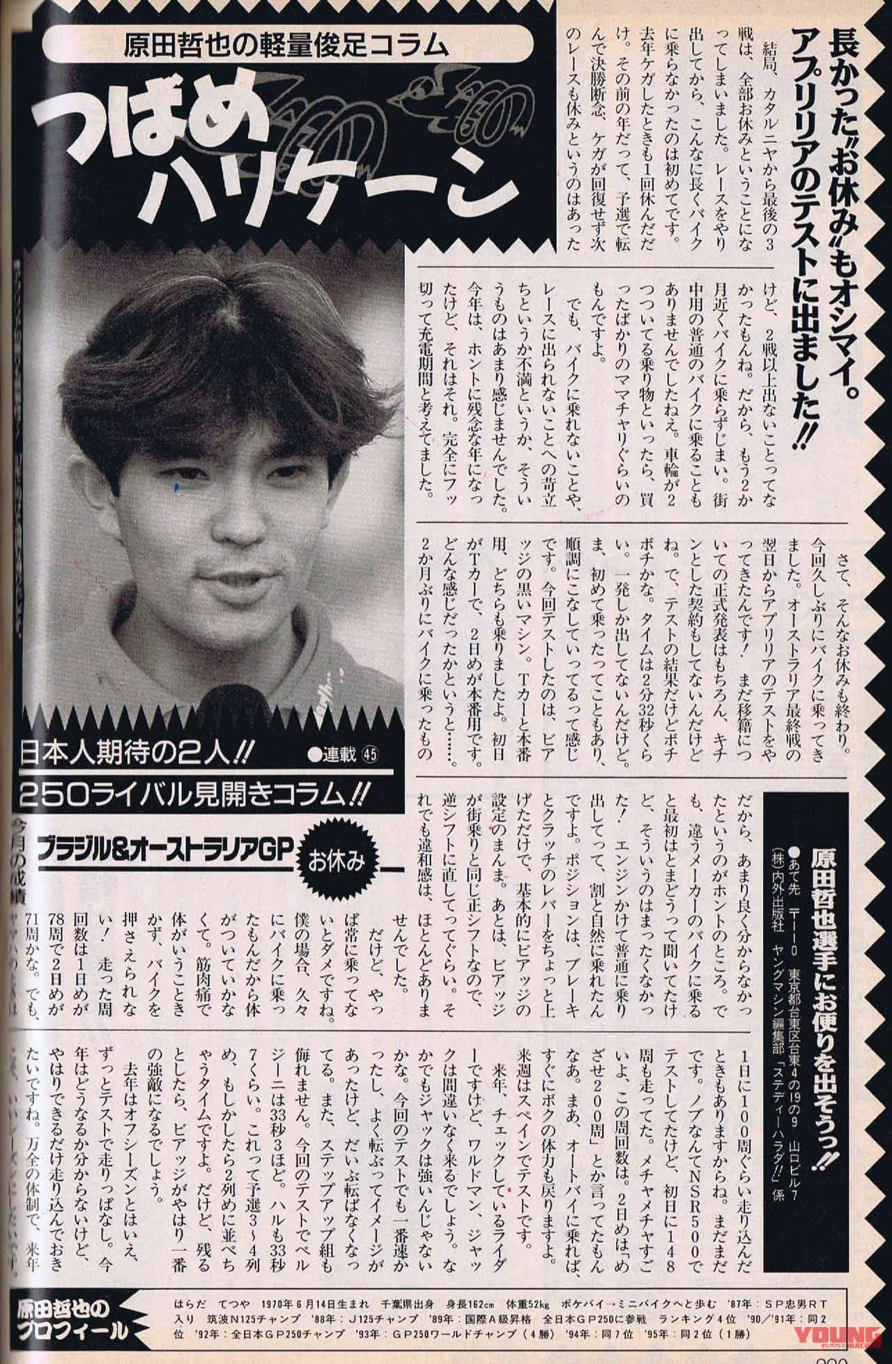 ヤングマシン1996年12月号、原田哲也の連載