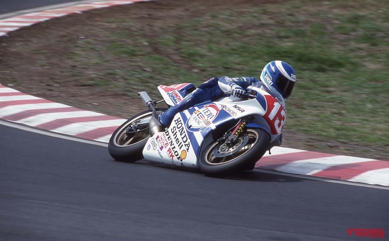 1989年4月9日・全日本ロードレース選手権GP250 筑波ラウンドで走る奥村裕
