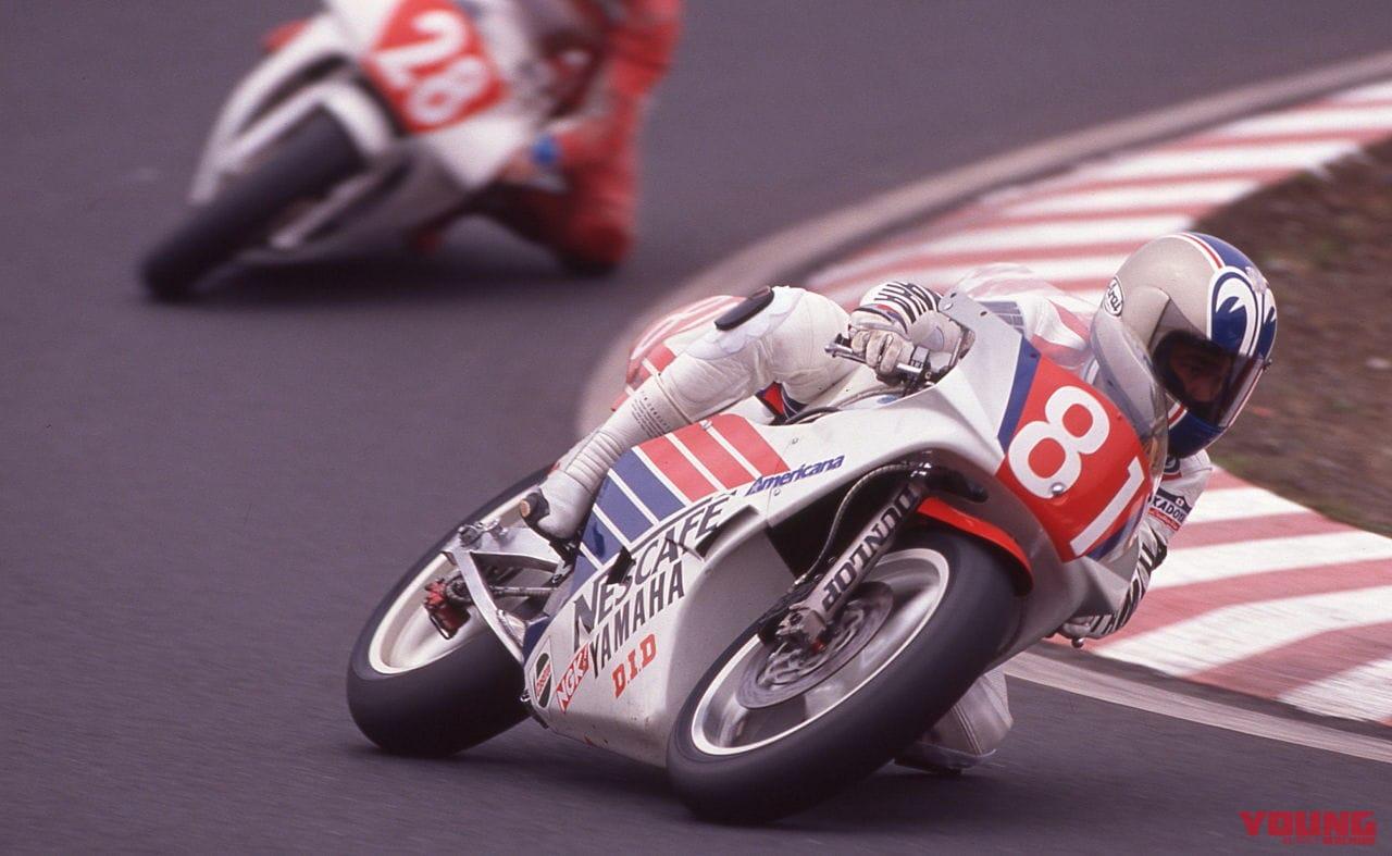 1989年4月9日・全日本ロードレース選手権GP250 筑波ラウンドで走る原田哲也