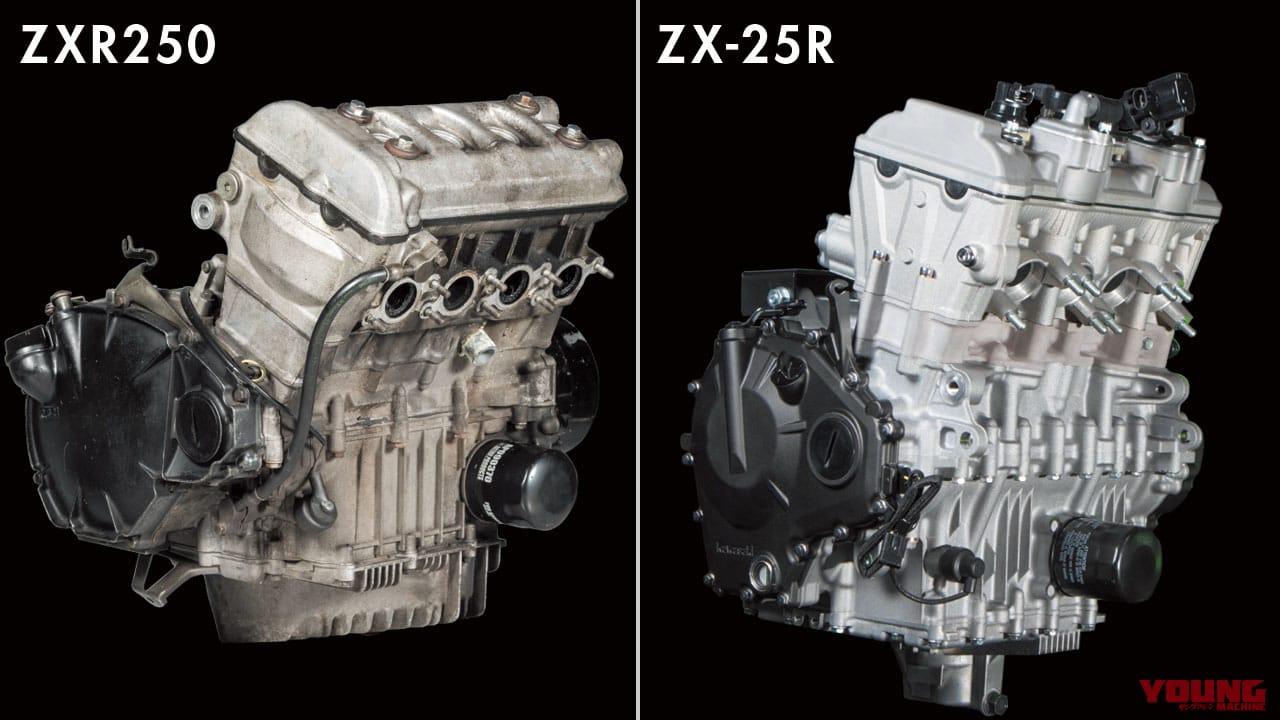 ZXR250とニンジャZX-25Rのエンジン